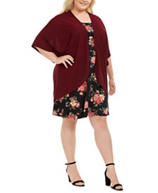 Love Squared Plus Size Open-Front Jacket & Floral-Print Dress