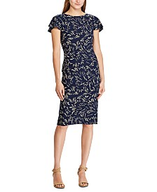 Lauren Ralph Lauren Botanical-Print Flutter-Sleeve Jersey Dress