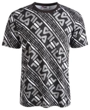 Fila Men's Calvin Allover Logo Graphic T-shirt In Black/ Frost Grey/ White