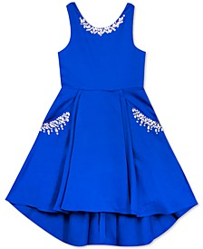 Little Girls Beaded Satin High-Low Dress