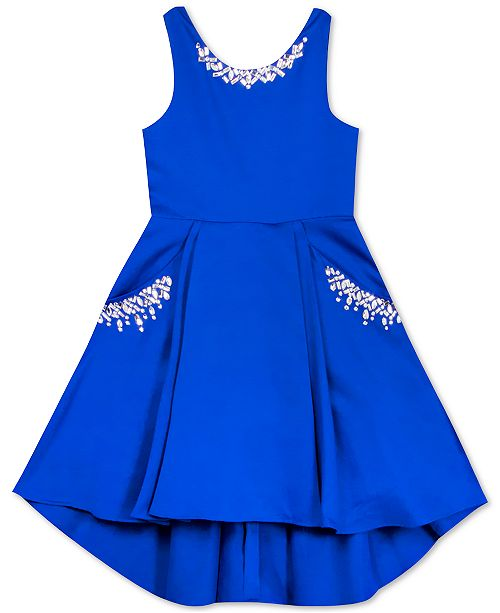 Rare Editions Little Girls Beaded Satin High-Low Dress