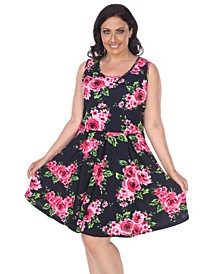 Women's Plus Size Floral Print Crystal Dress