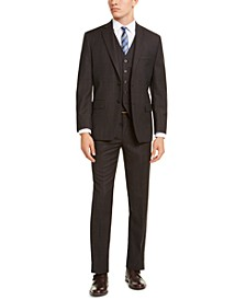 Men's Classic-Fit Airsoft Stretch Brown/Blue Birdseye Windowpane Vested Suit Separates