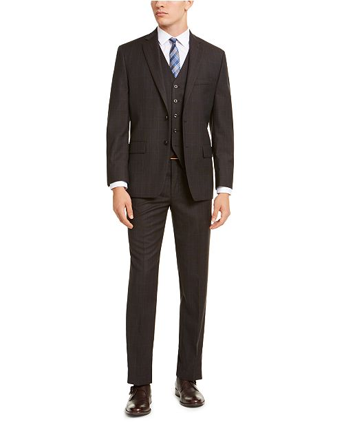 Michael Kors Men's Classic-Fit Airsoft Stretch Brown/Blue Birdseye Windowpane Vested Suit Separates