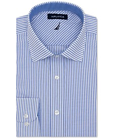 Men's Classic/Regular-Fit Comfort Stretch Wrinkle-Free Stripe Dress Shirt