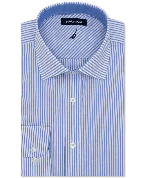 Nautica Men's Classic/Regular-Fit Comfort Stretch Wrinkle-Free Stripe Dress Shirt