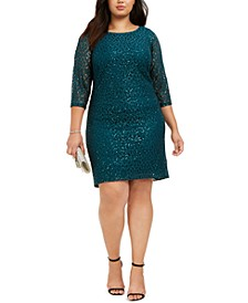Plus Size Disco Dot Lace Dress