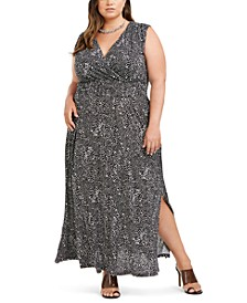 INC Plus Size Printed Ruched-Shoulder Smocked Maxi Dress, Created for Macy's