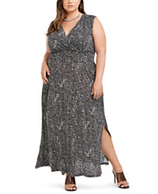 I.N.C. Plus Size Printed Ruched-Shoulder Smocked Maxi Dress, Created for Macy's