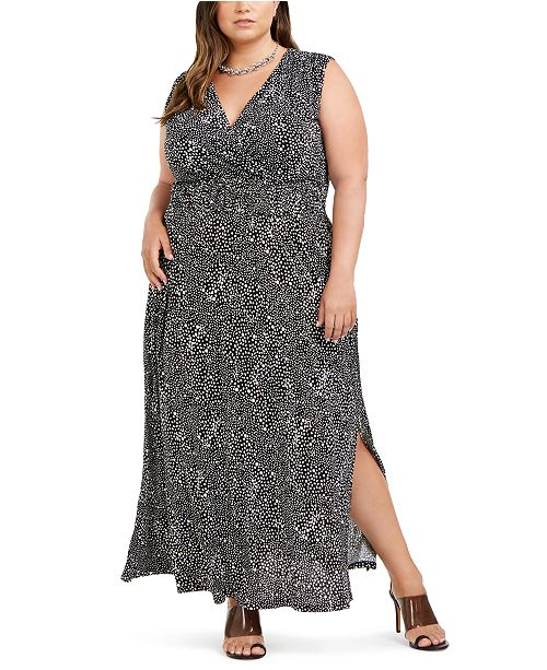 INC International Concepts I.N.C. Plus Size Printed Ruched-Shoulder Smocked Maxi Dress, Created for Macy's