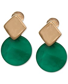 Gold-Tone Resin Disc Clip-on Earrings