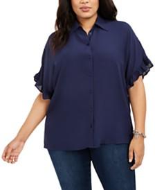 Michael Michael Kors Plus Size Ruffle-Sleeve Blouse
