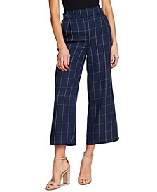 Wide Leg Printed Windowpane Capri Pants