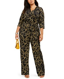 NY Collection Plus Size Printed Surplice Jumpsuit