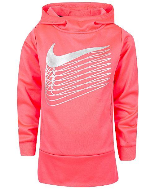 Nike Little Girls Metallic Logo Therma Fleece Hoodie