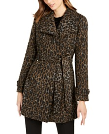 I.N.C. Asymmetrical Leopard Print Belted Coat, Created for Macy's