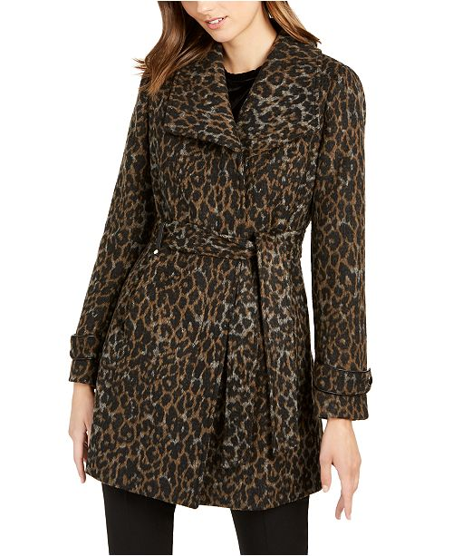 INC International Concepts INC Asymmetrical Leopard Print Belted Coat, Created for Macy's