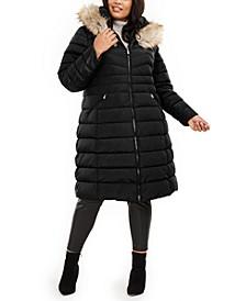 Plus Size Faux-Fur Trim Hooded Puffer Coat
