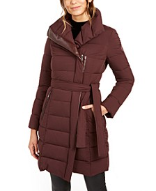 Asymmetrical Belted Puffer Coat
