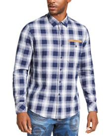 Sean John Men's Melange Plaid Shirt