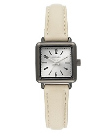 Women's Cream Leather Strap Watch 24x24mm
