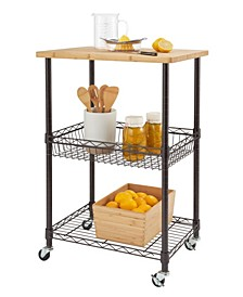 Basics Bamboo Top Kitchen Cart