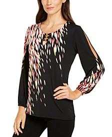 Printed Slit-Sleeve Top, Created for Macy's