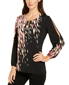 JM Collection Printed Slit-Sleeve Top, Created for Macy's