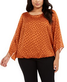 Alfani Plus Size Printed Angel-Sleeve Bubble Top, Created for Macy's