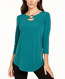 JM Collection Petite Ring-Neck 3/4-Sleeve Top, Created for Macy's