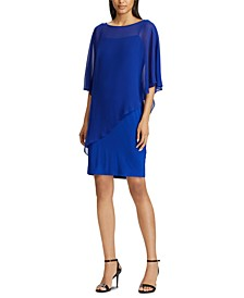 Chiffon-Cape-Overlay Jersey Dress