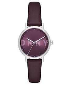 Women's Modernist Purple Leather Strap Watch 32mm