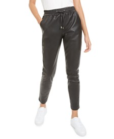 Bar III Faux-Leather Jogger Pants, Created for Macy's