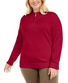 Karen Scott Plus Size Cotton 1/4-Zip Mock-Neck Sweater, Created for Macy's