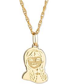 """Children's Frozen Anna 15"""" Pendant Necklace in 14k Gold"""