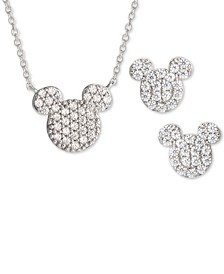Children's 2-Pc. Set Cubic Zirconia Pavé Mickey Mouse Pendant Necklace & Matching Stud Earrings in Sterling Silver