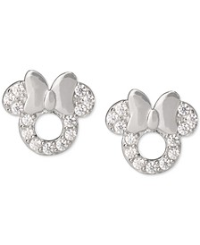 Children's Cubic Zirconia Minnie Mouse Stud Earrings in Sterling Silver