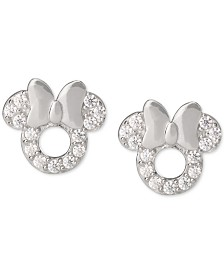 Disney© Children's Cubic Zirconia Minnie Mouse Stud Earrings in Sterling Silver