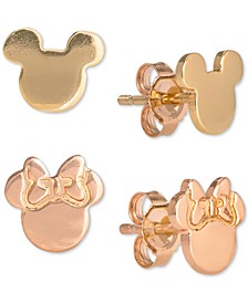 Children's 2-Pc. Set Mickey & Minnie Stud Earrings in 18k Gold- & 18k Rose Gold-Plated Sterling Silver