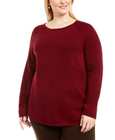 Karen Scott Plus Size Cotton Textured-Stripe Sweater, Created for Macy's