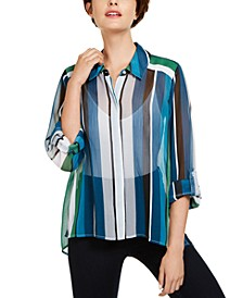 INC Petite Vertical-Stripe Button-Up Shirt, Created for Macy's