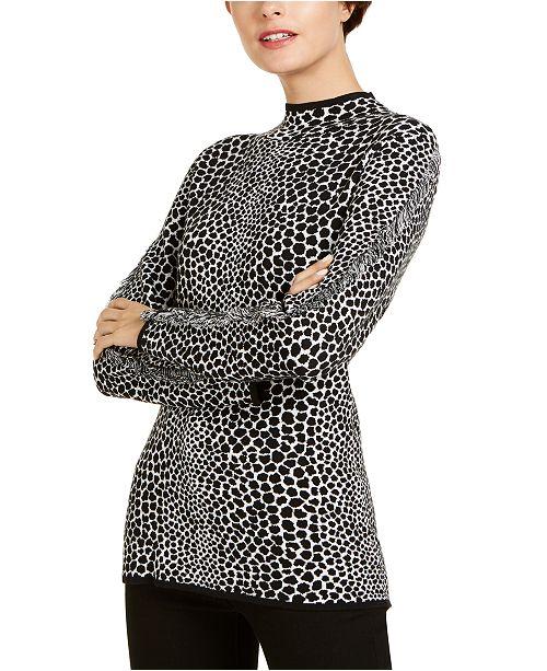 INC International Concepts I.N.C. Fringe-Trim Jaquard Sweater, Created for Macy's