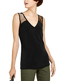 INC Sleeveless Illusion-Inset Top, Created for Macy's