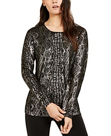 INC Metallic Python-Print Sweater, Created for Macy's