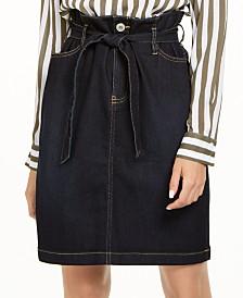 I.N.C. Petite Paperbag-Waist Denim Skirt, Created For Macy's