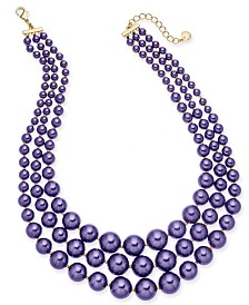 Charter Club Imitation Pearl Three-Row Collar Necklace, Created for Macy's