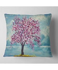 "Designart Blooming Sakura Flowers Floral Throw Pillow - 26"" x 26"""