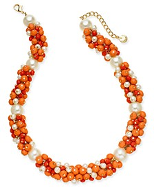 "Gold-Tone Multi-Bead Statement Necklace, 18"" + 2"" extender, Created For Macy's"