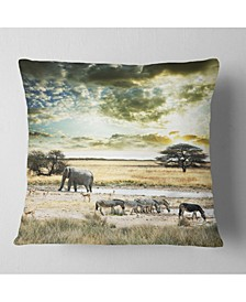 "Wild African Zebras and Elephant African Throw Pillow - 16"" x 16"""
