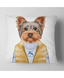 "Designart Terrier in Down Vest and Sweater Animal Throw Pillow - 16"" x 16"""
